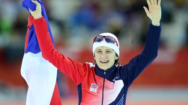Trojnásobná olympijská šampionka. Martina Sáblíková se raduje ze zlaté medaile v závodu na 5000 m na olympijských hrách v Soči.