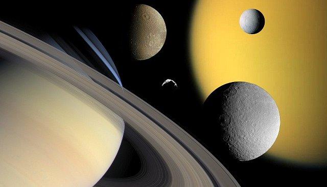 Planeta Saturn s měsíci