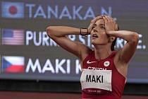 Česká běžkyně Kristiina Mäki po překonání českého rekordu v semifinále běhu na 1500 metrů na LOH v Tokiu.