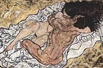 Obraz Milenci od Egona Schieleho z roku 1917