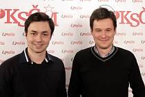 Setkání s kandidáty KSČM do Europarlamentu. Andrej Bóna a Arťom Korjagin
