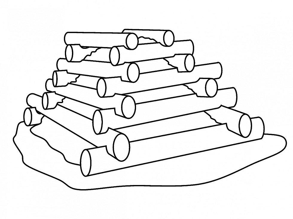 Bylinková pyramida využívá výstavbu pomocí kraňské zdi.