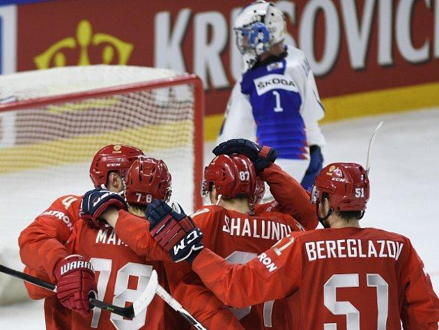 Zápas Ruska proti Slovensku skončil vítězně pro Rusy.