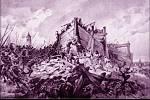 """Obraz Adolfa Liebschera """"Bitva na hoře Vítkově dne 14. července roku 1420"""""""" ukazuje boj o opevněné husitské sruby"""