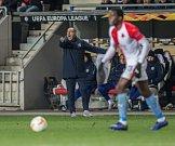 První utkání čtvrtfinále Evropské ligy mezi Slavií a Chelsea. Maurizio Sarri.