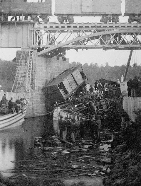 Autentický snímek z železniční nehody v kanadském Beloeilu, k níž došlo 29. června 1864. Obětí tohoto největšího kanadského železničního neštěstí 19. století se stali zejména imigranti ze střední Evropy