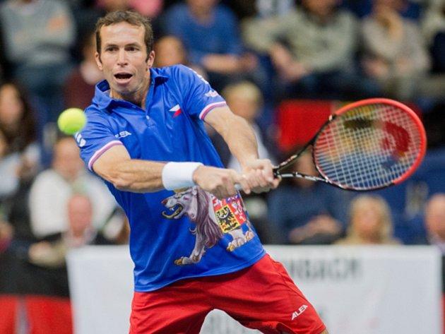 Radek Štěpánek v Davis Cupu proti Německu.