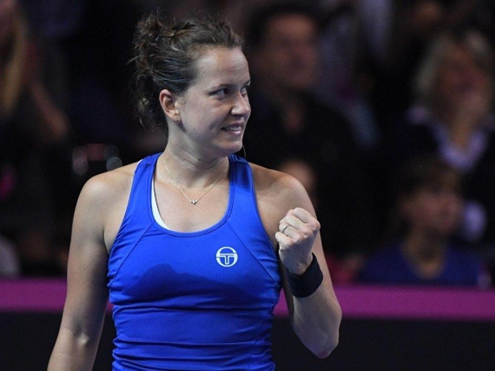 Barbora Strýcová a její vítězné gesto.