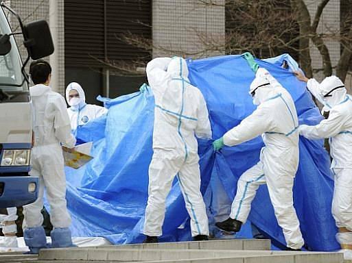Pracovníci elektrárny Fukušima.
