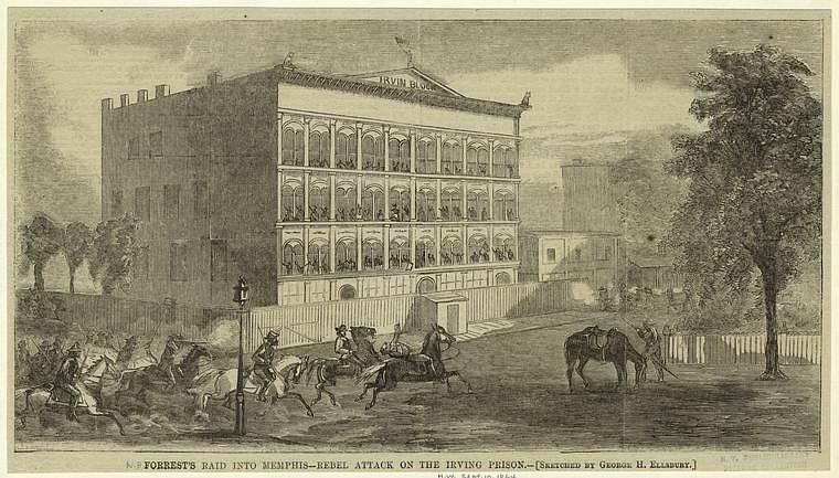 Jízda pod velením generála Nathana Bedforda Forresta při útoku v Memphisu.