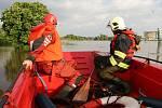 Záchranné akce při povodních v Litoměřicích.