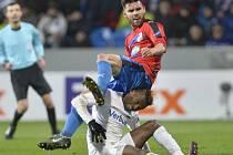 Plzeňský Michal Ďuriš při utkání s Austrií Vídeň.