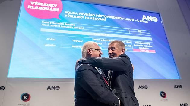 Volební sněm hnutí ANO, 17. února v Praze. Jaroslav Faltýnek, Andrej Babiš.