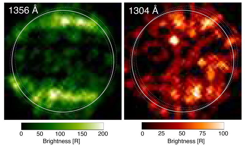 První ultrafialové snímky měsíce Ganymedes. Pořídil je Hubbleův vesmírný dalekohled v roce 1998 a vědci na nich objevili aurorální pásy. Jejich přítomnost vysvětlili až nyní, a zároveň tím získali první důkaz o přítomnosti vodní páry v atmosféře měsíce.