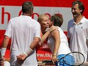 Na tenisové exhibici v Prostějově se představil (zleva) Ivan Lendl, Jana Novotná, Hana Madlíková a Miloš Mečíř.