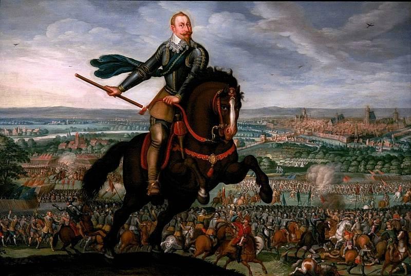 Švédský král Gustav Adolf v bitvě u Breitenfeldu (1631) na obraze od Johanna Jakoba Walthera z roku 1632