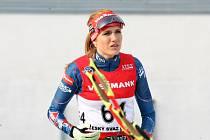 Gabriela Soukalová na exhibičním mistrovství České republiky v biatlonovém supersprintu v Jablonci na Nisou.