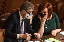 Premiér Andrej Babiš (ANO) a ministryně financí Alena Schillerová (za ANO)