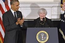 Janet Yellenová s prezidentem Obamou.