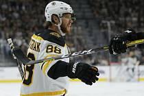 Hokejista Bostonu Bruins David Pastrňák se raduje ze svého gólu.