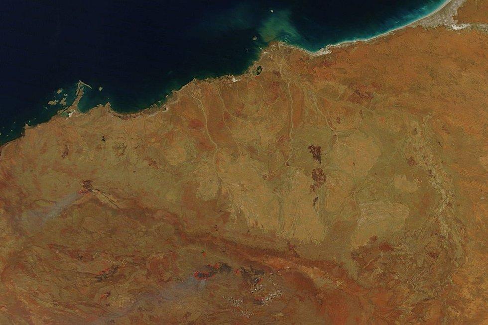 Satelitní záběr oblasti Pilbara v západní Austrálii