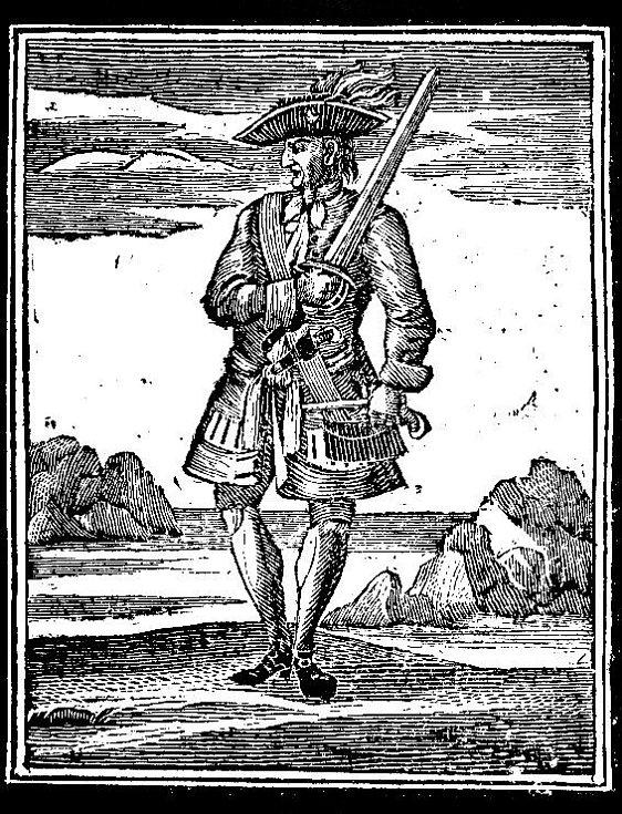 """Skutečný kapitán Jack, pirát z Karibiku. Narodil se v Bristolu a jmenoval se John """"Jack"""" Rackham"""