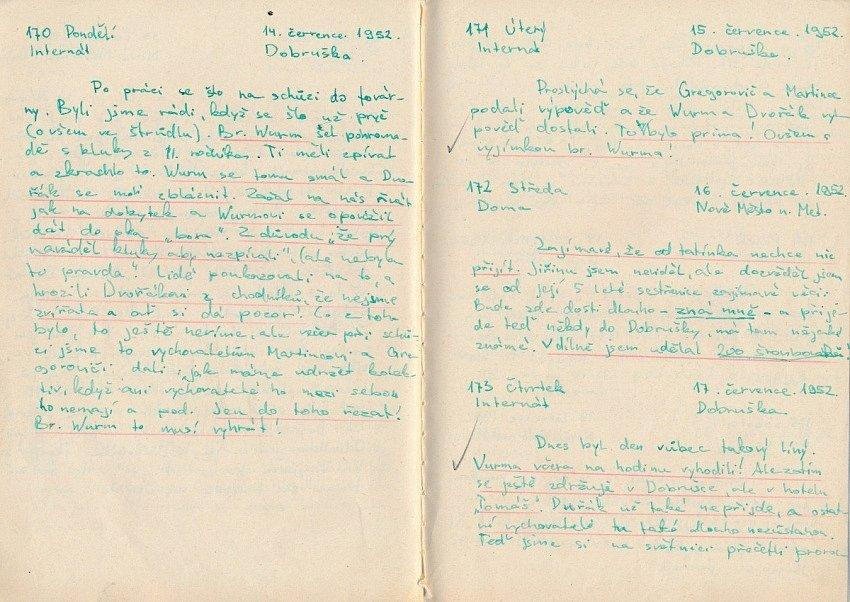 Ukázka z deníku Karla Pfeiffera z roku 1952.