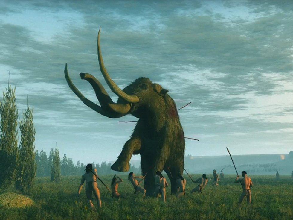 Domorodí Američané cloviské kultury loví mamuta.