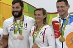 Olympijští medailisté z Ria (zleva) Josef Dostál, Barbora Špotáková a Lukáš Krpálek.