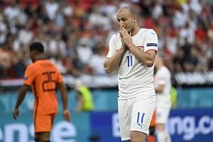 Michael Krmenčík v osmifinále Eura proti Nizozemsku.