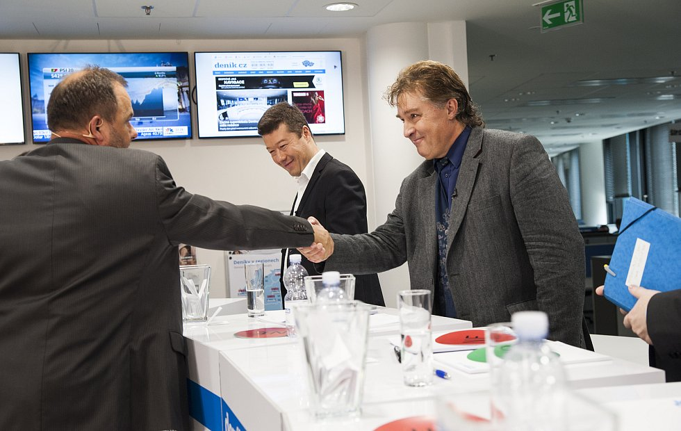 Předvolební debata Deníku: (zleva) Roman Gallo, Tomio Okamura, Jiří Dolejš