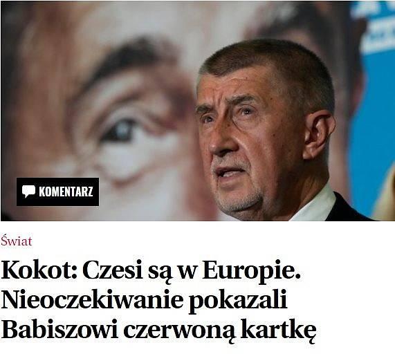 Titulek z polských novin Gazeta Wyborcza. Slovo Kokot označuje autora polského článku Michala Kokota, v Česku však získalo ve spojení s fotografií nový rozměr