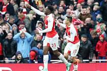 Arsenal - Leicester: Danny Welbeck a jeho radost z vítězné branky