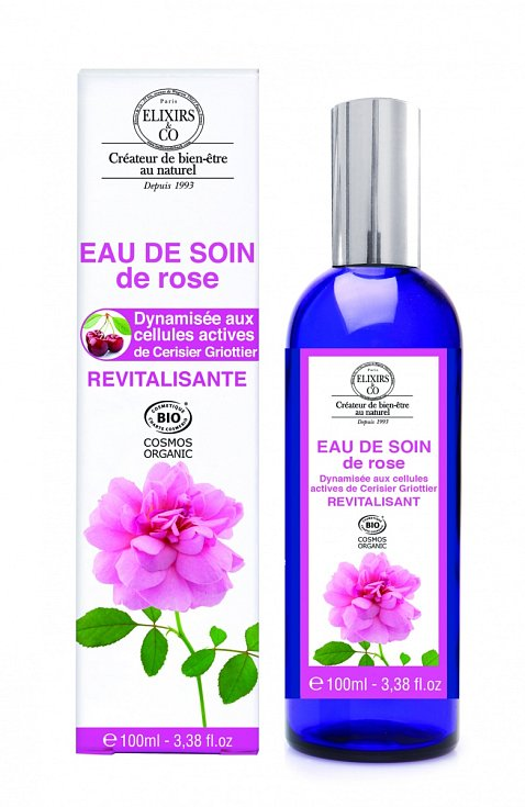Revitalizační a antioxidační květová voda z damašské růže, z výtažků z pupenů višně a organickým glycerinem Karanja, Eau de Soin de Rose, Bio-Bachovky (www.bio-bachovky.cz), 549 Kč