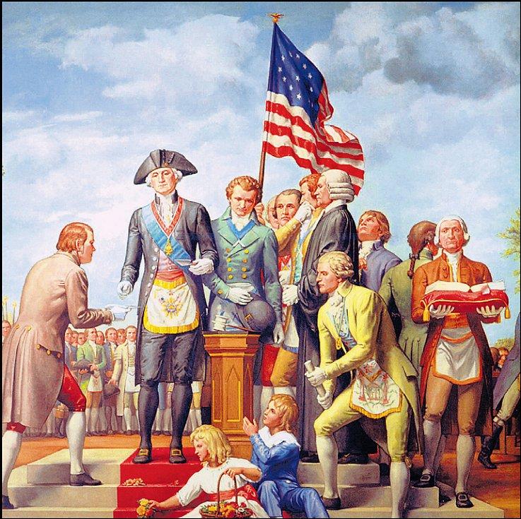 George Washington rituálně klade základní kámen Kapitolu