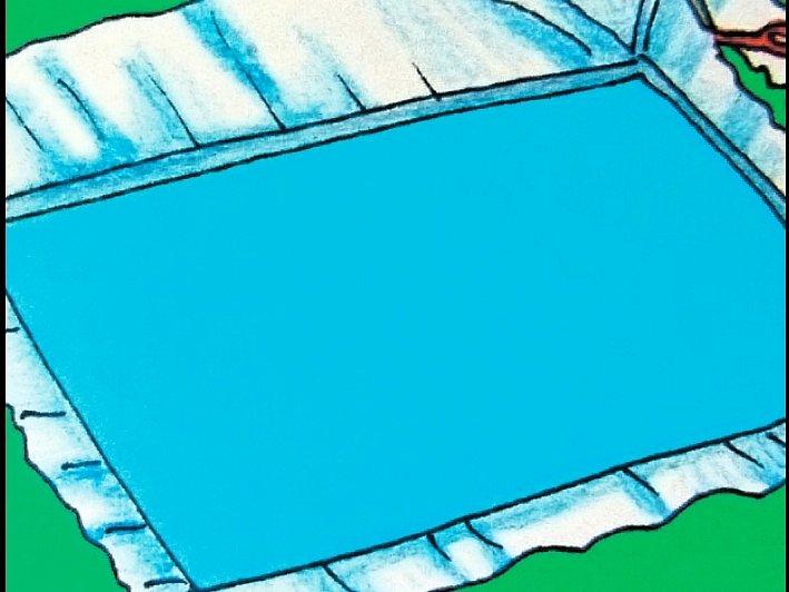 Jezírko naplníme vodou a přesahující fólii zastřihneme 15 až 20 cm od okraje.