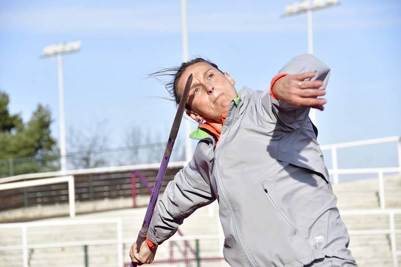 Barbora Špotáková při tréninku