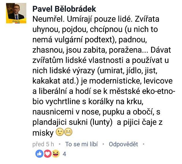 Facebookový příspěvek Pavla Bělobrádka