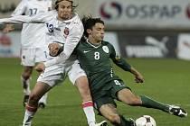 Momentka z prvního utkání proti Slovincům: Plašil v tvrdém souboji s Koreněm