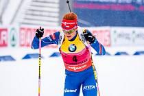 Gabriela Soukalová během stíhacího závodu na mistrovství světa.
