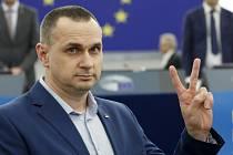 Ukrajinský filmový režisér Oleg Sencov v Evropském parlamentu.