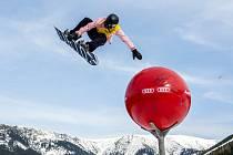 Závody SP ve snowboardingu (slopestyle) ve Špindlerově Mlýně.