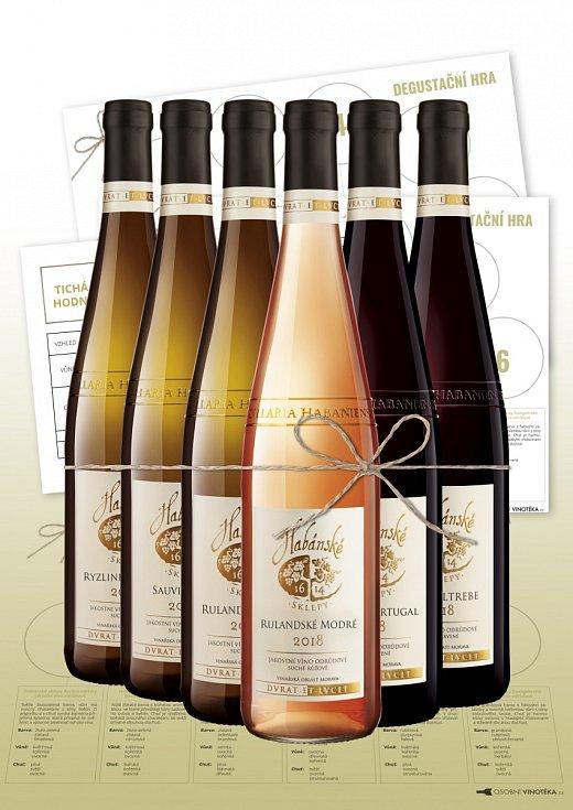 Degustační balíček Hra je důmyslnousadou, která kromě šesti vín zHabánských sklepů obsahuje inávod apomůcky
