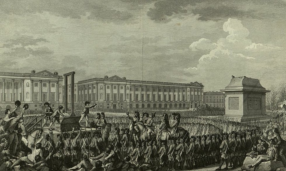 Poprava Ludvíka XVI. v lednu 1793. Foto: Wikimedia Commons, Bibliothèque nationale de France, volné dílo