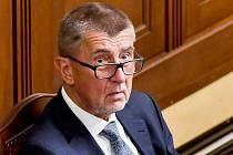 Premiér Andrej Babiš (ANO) na schůzi Poslanecké sněmovny