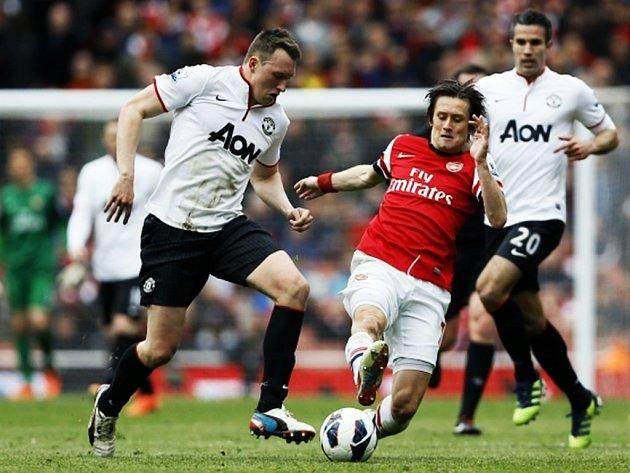 Tomáš Rosický z Arsenalu v utkání proti Manchesteru United.