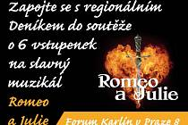 Zapojte se s regionálním Deníkem do soutěže o 6 vstupenek na slavný světový muzikál Romeo a Julie.