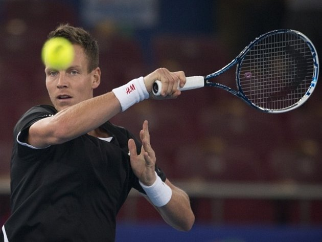 Tomáš Berdych na exhibiční soutěži International Premier Tennis League.