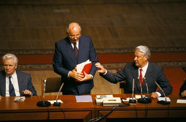 Michail Gorbačov a Boris Jelcin