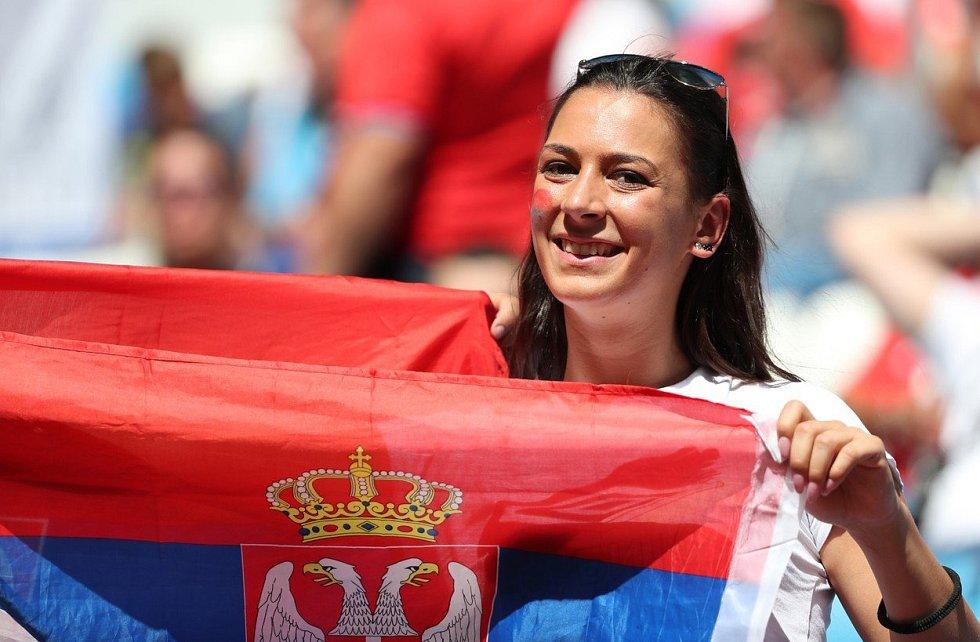 Srbská fanynka. Fotbalové MS Rusko 2018